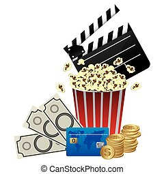 color clipper board, pop corn and money icon, vector...