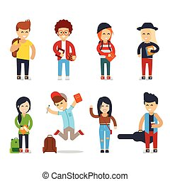 Young students cartoon characters. Happy people vector set.