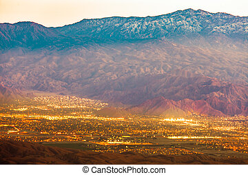 Palm Springs and Mt San Jacinto Mountains CA US - Night...