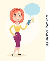 Happy smiling woman character hold smartphone in hand...
