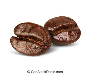 Macro two coffee beans isolated on white, path