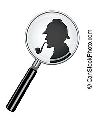Sherlock Holmes In Magnifying Glass - A realistic magnifying...