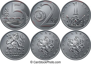 vector Money five czech crones coin reverse - Set silver...