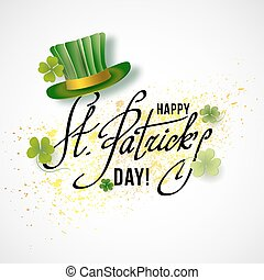 Saint Patricks Day Card with Green Hat and Shamrock on Gray...