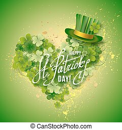 Saint Patricks Day Card with Green Hat and heart shaped...