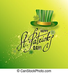 Saint Patricks Day Card with Green Hat and Shamrock on Green...