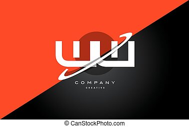 ww w red black technology alphabet company letter logo icon...