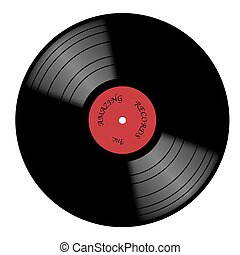 Vinyl 33rpm Record With Red Label
