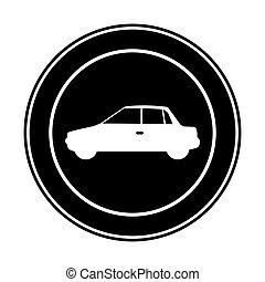 monochrome circular frame with automobile in side view