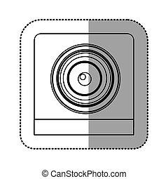 monochrome contour sticker of security camera