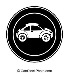 monochrome circular frame with sports car in side view