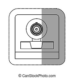 monochrome contour sticker of webcam vector illustration