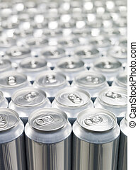 Aluminium Cans - Several Aluminium Cans at a warehouse