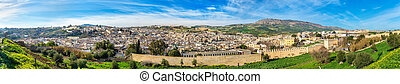 Panorama of Old Medina in Fes, Morocco, Africa - Panorama of...