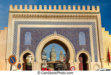 Bab Bou Jeloud gate in Fez, Morocco - Bab Bou Jeloud gate in...