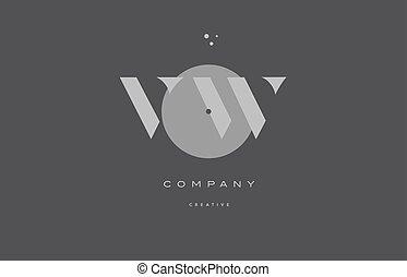 vw v w grey modern alphabet company letter logo icon - vw v...