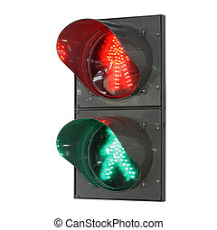 Traffic light for pedestrians separately on a white...
