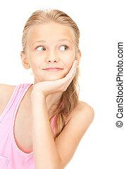 lovely girl - bright picture of lovely girl over white