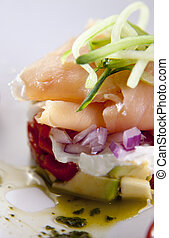 South African Seafood - Smoked salmon dish on white plate.