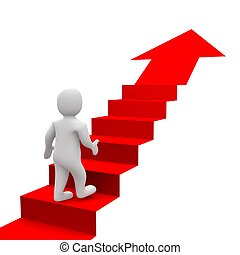 Man and red stairs. 3d rendered illustration.