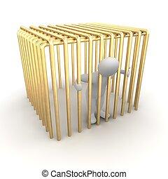 Man jailed in golden cage. 3d rendered illustration.