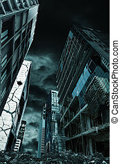 Cinematic Portrayal of Destroyed City Vertical Orientation -...