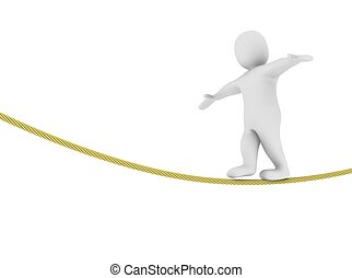 Man balancing on the rope 3d rendered illustration