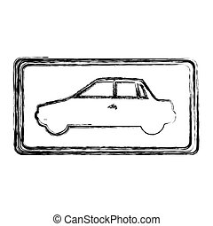 monochrome sketch with automobile side view in square frame