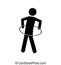 monochrome pictogram with training in hula hoop vector...