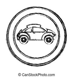 monochrome sketch of circular frame with sports car in side view