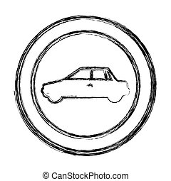 monochrome sketch of circular frame with automobile in side view
