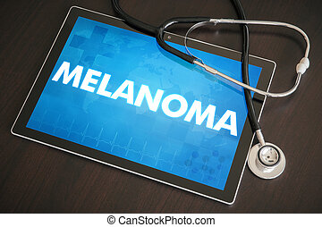 Melanoma (cancer type) diagnosis medical concept on tablet...