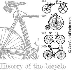 Bicycle evolution set - Vector hand drawn illustration of...