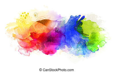 rainbow colored watercolor paints and textures on white -...