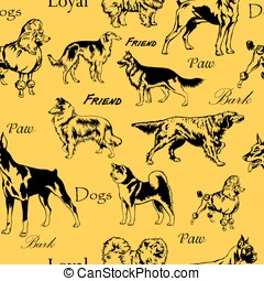 Seamless pattern with decorative black dogs on yellow...