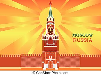 Spasskaya tower of the Moscow Kremlin on orange background...