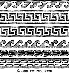 Greek wave and meander - Meander, wave and other ancient...