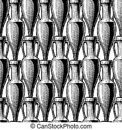 seamless pattern with amphora - vector black-and-white...