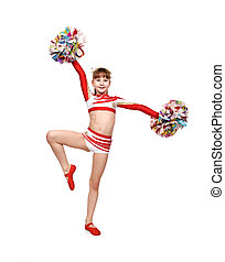 cheerleader girl with pompoms dances - cheerleader girl with...