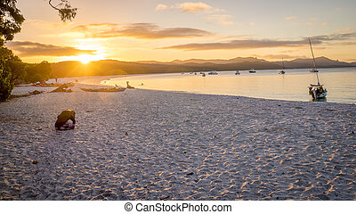 Whitehaven beach sunset at Whitsunday Island - Sunset view...