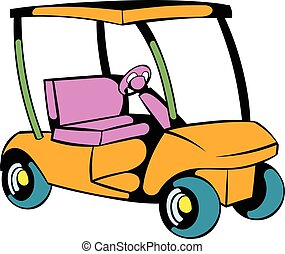 Golf car icon, icon cartoon - Golf car icon in icon in...