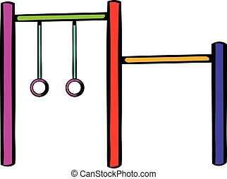 Horizontal bar with climbing rings icon in icon in cartoon...