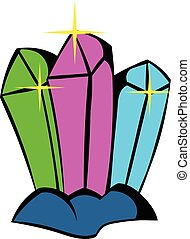 Crystals icon, icon cartoon - Three crystals icon in icon in...
