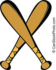 Two crossed baseball bats icon, icon cartoon - Two crossed...