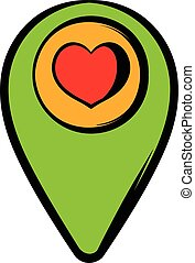 Map pointer with heart icon, icon cartoon