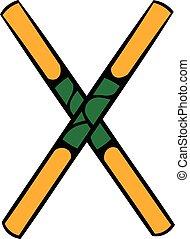 Wooden sword bokken icon, icon cartoon - Wooden sword bokken...