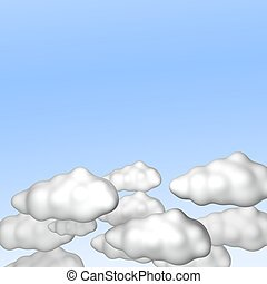 Blue sky with clouds. 3d rendered illustration.