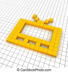 Television 3d icon in grid. Rendered illustration.