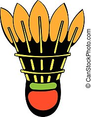 Shuttlecock icon, icon cartoon - Shuttlecock icon in icon in...