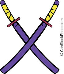 Japanese kendo sword icon, icon cartoon - Japanese kendo...